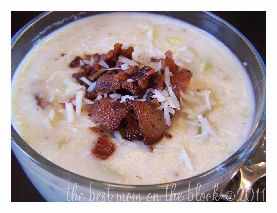 cream of leek and potato soup with bacon, leek potato soup with bacon