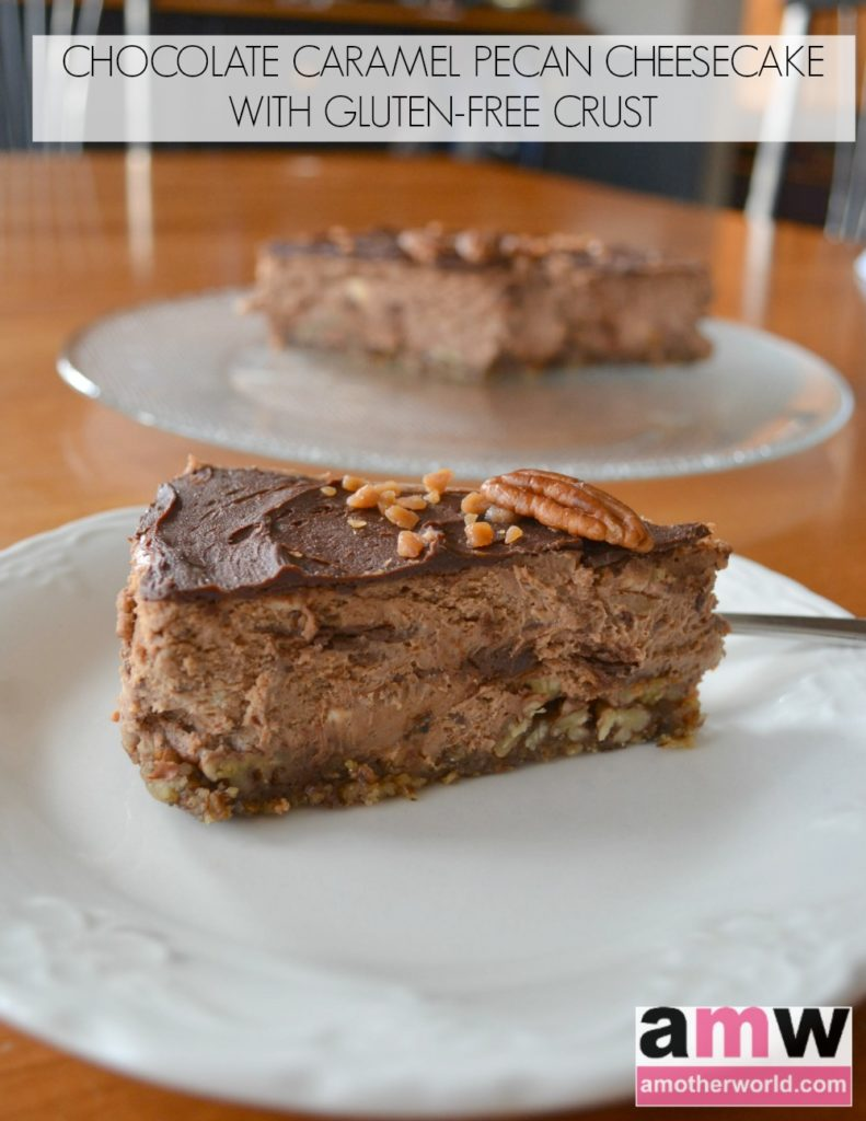 Chocolate Caramel Pecan Cheesecake with Gluten Free Crust