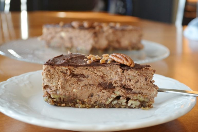 Chocolate Caramel Pecan Cheesecake with Gluten Free Crust