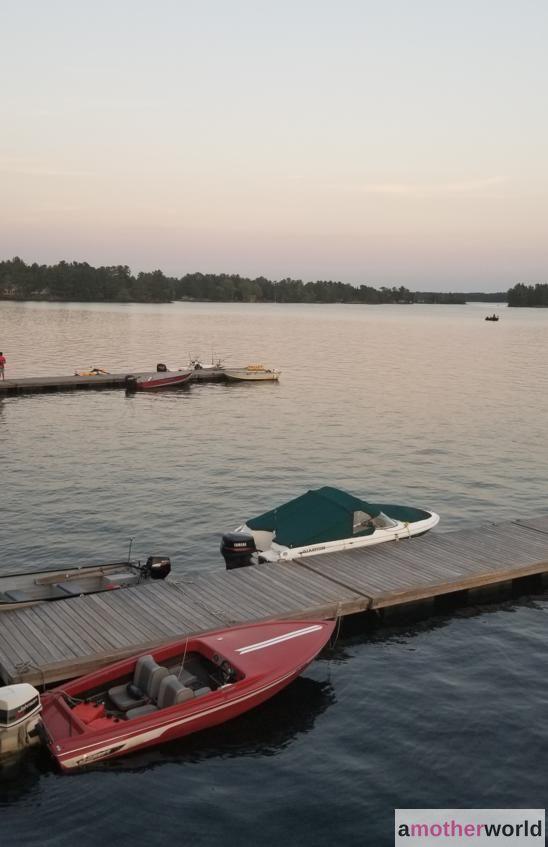 Boats on Stoney Lake at dusk
