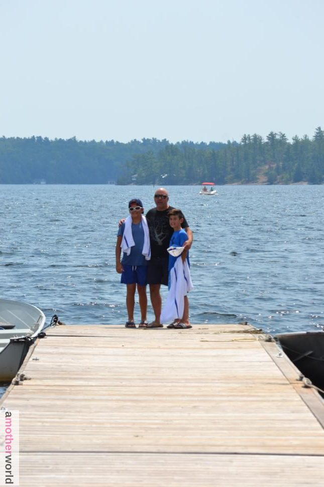 Boys on the dock at Viamede