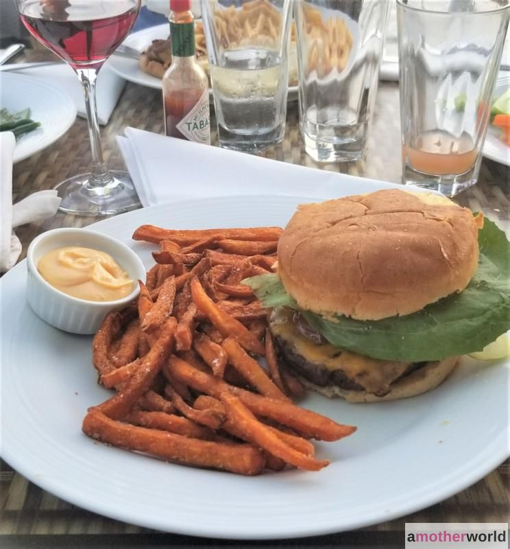 Burger on a Gluten-Free Bun with Sweet Potato Fries at The Boathouse