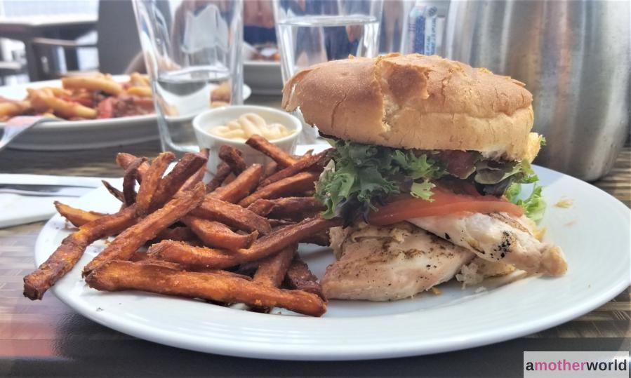 Chicken on a Gluten-Free Bun with With Potato Fries at The Boathouse