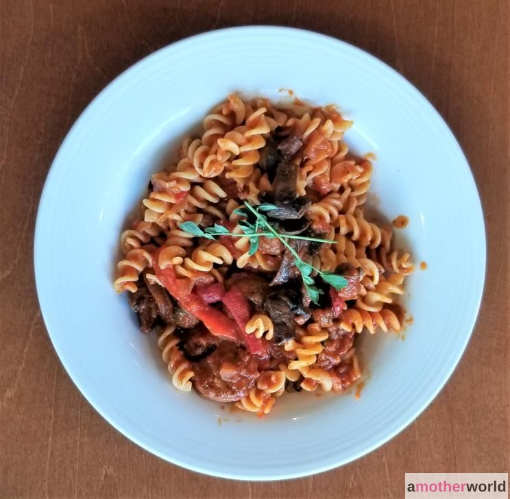Gluten-Free Pasta with Chorizo and Roasted Red Peppers
