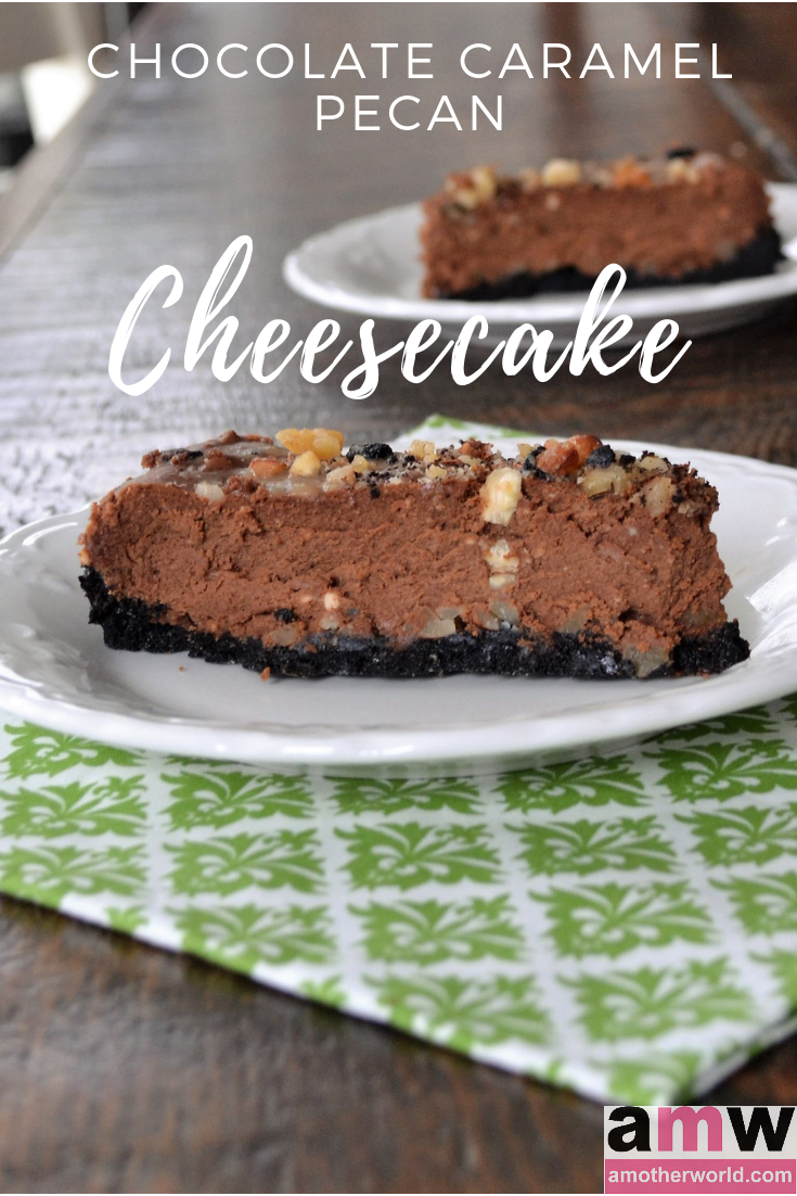 Chocolate Caramel Pecan Cheesecake | amotherworld.com