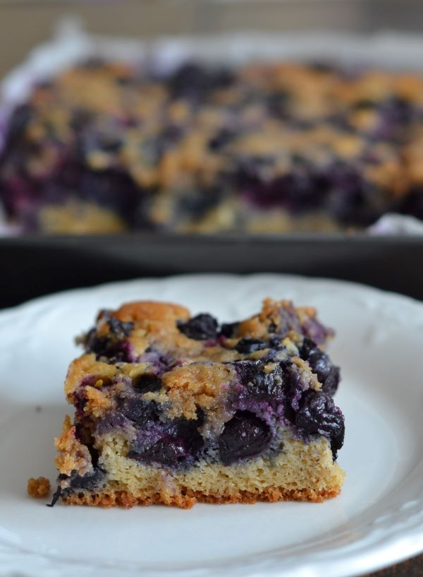 gluten-free blueberry lemon coffee cake with crumble topping