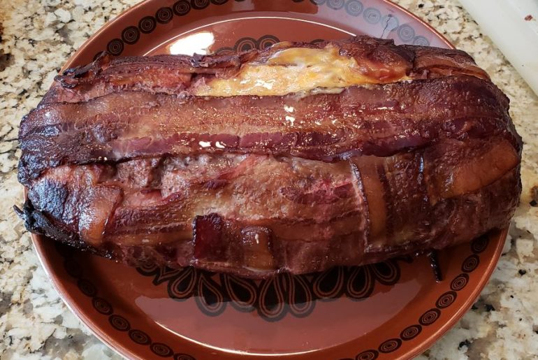 Bacon-Wrapped Meatloaf with Cheese Recipe