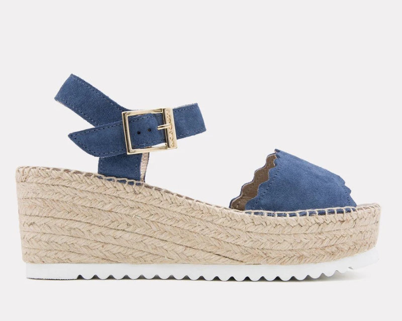 Summer Essentials Cacia Suede Scalloped Platform Wedge Espadrille by Andre Assou